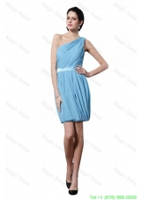 Column Light Blue One Shoulder Ruching Belt Mini-length Bridesmaide Dress