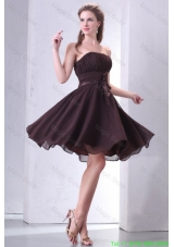 Elegant Brown Strapless Knee-length Bridesmaide Dress with Sash and Ruching