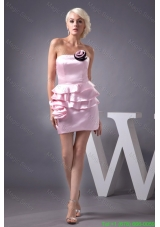 Flower and Ruffles Accent Mini-length Pink Dresses for Prom