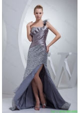 One Shoulder High Slit Sequins Over Skirt Silver Prom Evening Dress