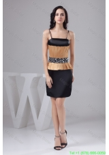 Ruched Black and Gold Mini Prom Cocktail Dress with Beading