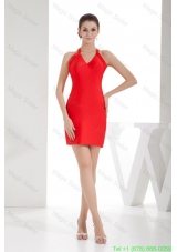Sheath Red Satin V-neck Mini-length Prom Dress for Cheap 2015