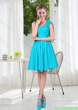 Short Straps Custom Made Damas Dress in Aqua Blue