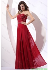 Strapless Beaded Decorate Floor Length Wine Red Prom Dress