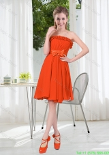 Summer A Line Strapless Bowknot Damas Dress in Rust Red
