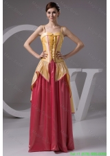 Yellow and Watermelon Long Prom Gown Dress with Spaghetti Straps