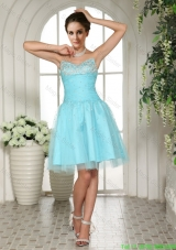 2016 Sweetheart A-line Aqua BLue Prom Dress with Beading