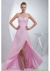 Beaded Pink Floor-length Bridesmaide Dress with High Slit and Sweetheart