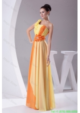 Beaded Ruched One Shoulder Yellow and Orange Bridesmaide Dress for Ladies