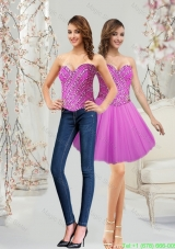 Classical 2015 Sweetheart Tulle Short Fuchsia Prom Dress with Beading