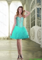 Comfortable 2015 Sweetheart Prom Dresses with Beading and Ruffles