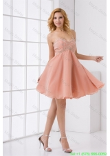 Cute A-line Sweetheart Beading Mini-length Chiffon Prom Dress