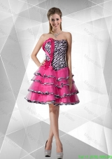 Discount A Line Strapless Zebra Dama Dresses with Ruffled Layers