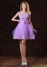 Discount V Neck Tulle Damas Dresses with Bowknot
