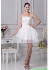 Organza Strapless Short White Bridesmaide Graduation Dress with Appliques