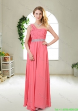 Pretty One Shoulder Sequined Damas Dresses in Watermelon Red