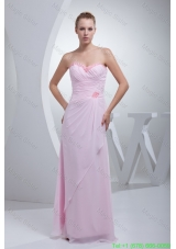 Ruched and Beaded Floor-length Chiffon Bridesmaide Dresses in Baby Pink