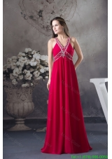 V-neck Beaded Red Chiffon  Bridesmaide Formal Dress with Criss Cross Back
