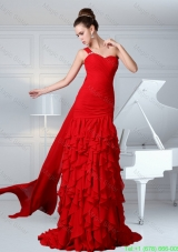 2015 One Shoulder Ruching Column Chiffon Watteau Train Celebrity Dress in Red