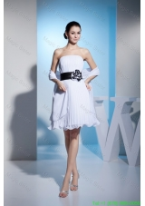 2016 White Strapless Pleats Prom Dress with Black Sashes