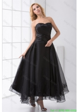 A-line Strapless Black Ankle-length Embroidery Prom Dress