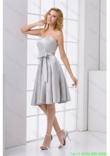 Cheap A-line Strapless Grey Mini-length Prom Dress with Bowknot
