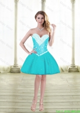 Cute Ball Gown Sweetheart Celebrity Dresses with Beading in Aqua Blue