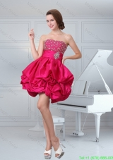 Hot Sale A Line Hot Pink Strapless Celebrity Dress with Beading