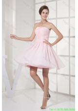 Ruched and Beaded Mini-length Chiffon Strapless Damas Homecoming Dress