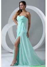 Aqua Blue High Slit Sexy Prom Dress with Flowers and Ruching