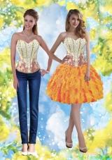 Cheap Sweetheart Detachable Prom Dresses with Beading and Ruffles for 2015
