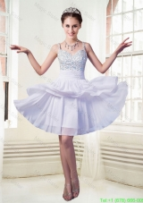 Chiffon Empire Straps Mini Length Beaded Homecoming Dress in Lavender