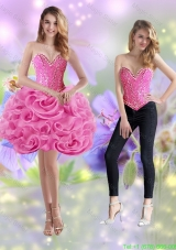 Classical 2015 Short Sweetheart Rolling Flowers Rose Pink Detachable Prom Dress