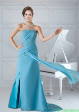 Column Strapless Aqua Blue Chiffon Beaded and Ruched Prom Dress with Brush Train