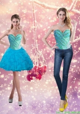 Exclusive Beading and Ruffles 2015 Short Detachable Prom Dress in Baby Blue