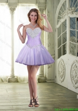 Mini Length Sweetheart Beaded Prom Dresses in Lavender for 2015