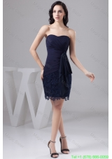 Navy Blue Bowknot Decorate Celebrity Gown Dress in Chiffon and Lace