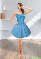 Perfect 2015 Short Sweetheart Tulle Blue Prom Dress with Beading