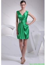 Ruffles and Ruche Decorated Short V-neck Prom Dresses