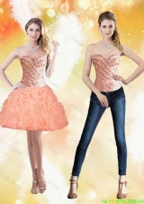 Wonderful Sweetheart Short Peach 2015 Detachable Prom Dress with Beading and Pick Ups