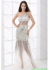 Column Silver One Shoulder Sequin Floor-length Prom Dress
