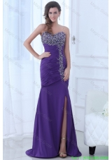 Mermaid Eggplant Purple Sweetheart High Slit Beading Chiffon Evening Dress