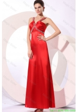 Wine Red Column Straps Beading and Ruching Evening Dress