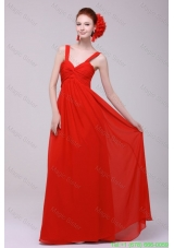 Cheap Straps Red Empire Graduation Dress with Chiffon Floor Length
