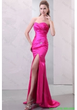 Column Hot Pink High Slit Sweetheart Beading and Ruching Evening Dress
