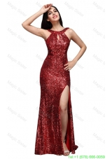 Column Scoop Wine Red Sequins High Slit Brush Train Evening Dress