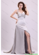 Column Straps Beading and Ruching High Slit Watteau Train Evening Dress