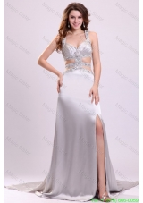 Column Straps Beading Ruching Satin High Slit Gray Evening Dress