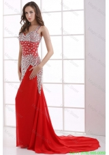 Column Wine Red Beading Straps Court Train Chiffon Evening Dress