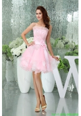 Cute Organza A-line Strapless Ruffle-layers Prom Dress in Baby Pink